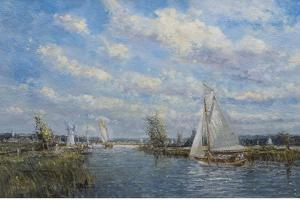 Yachts on the River Ant - Norfolk Broads, 2008 by John Sutton