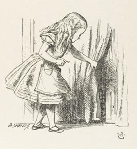 Alice Alice Draws Back the Curtain to Reveal a Little Door by John Tenniel