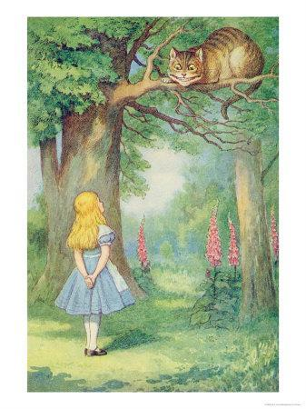 Alice and the Cheshire Cat, Illustration from Alice in Wonderland by Lewis Carroll