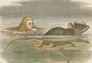 Alice and the Pool of Tears Swimming in It with a Mouse by John Tenniel