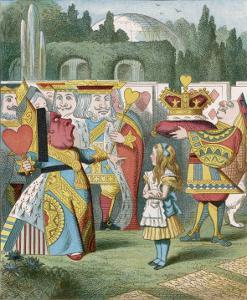 """Alice and the Queen of Hearts: """"Off with Her Head!"""" by John Tenniel"""