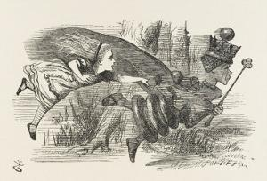 Alice and the Red Queen Fly Hand-In-Hand by John Tenniel