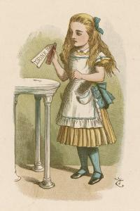 """Alice Holds the Bottle Which Says """"Drink Me"""" on the Label by John Tenniel"""