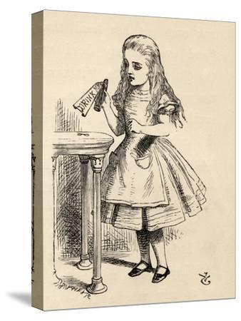 Alice Peering at the Drink Me Bottle, from 'Alice's Adventures in Wonderland' by Lewis Carroll,…