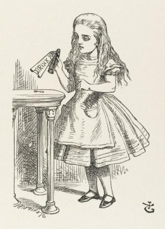 Alice Shrinks and Stretches Alice Finds the Bottle Labelled Drink Me by John Tenniel