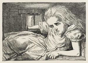 Alice Shrinks and Stretches Alice Grows Too Big for the House by John Tenniel
