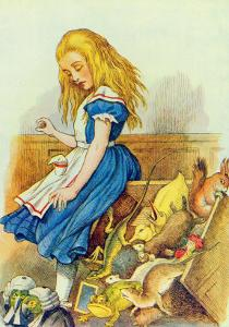 Alice Upsets the Jury-Box, Illustration from Alice in Wonderland by Lewis Carroll by John Tenniel