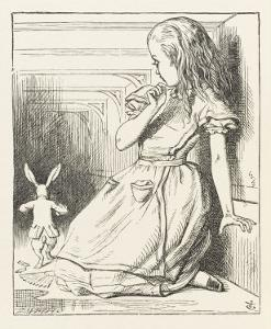 Alice Watches the White Rabbit Disappear Down the Hallway by John Tenniel