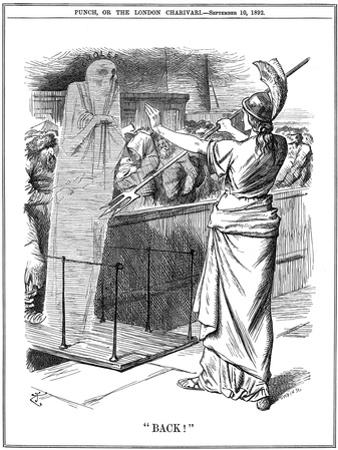 Britannia Holding Back Cholera at British Ports, 1892