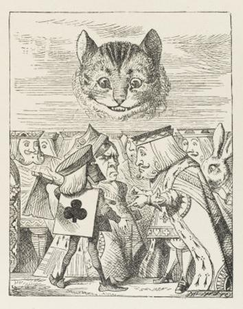 Cheshire Cat the King Queen and Executioner Argue About the Chishire Cat's Head by John Tenniel