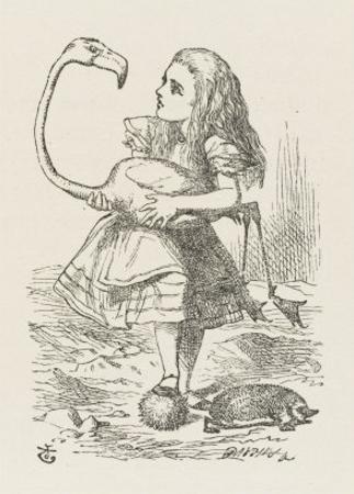 Croquet Alice with the Flamingo
