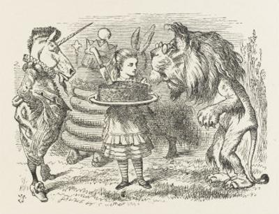 Lion and Unicorn Alice with the Lion and the Unicorn, and a Plum Cake by John Tenniel