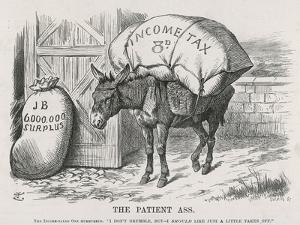 The British Taxpayer, The Patient Donkey, Groans Beneath the Weight of Income Tax by John Tenniel