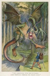 The Jabberwock with Eye of Flame Came Whiffling Through the Tulgey Wood by John Tenniel