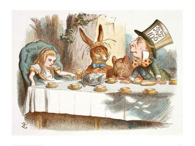 The Mad Hatter's Tea Party, 1890 (Col Version 1) by John Tenniel