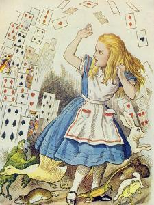 The Shower of Cards, Illustration from Alice in Wonderland by Lewis Carroll by John Tenniel