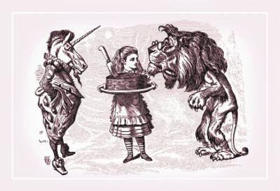Through the Looking Glass: Alice, Lion, Unicorn and Cake by John Tenniel