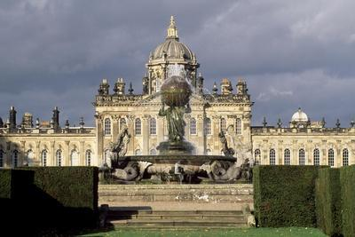 Atlas Fountain with Facade of Castle Howard in the Background