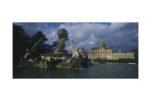 Atlas Fountain with Facade of Castle Howard in the Background by John Thomas