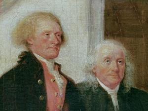 Drafting the Declaration of Independence, 28th June 1776, Detail of Thomas Jefferson (1743-1826)… by John Trumbull