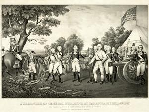Surrender of General Burgoyne at Saratoga, N.Y., October 17th 1777, Pub. N. Currier, 1852 by John Trumbull