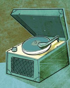 Old School Record Player in Aqua by John W^ Golden