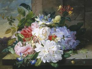 Pretty Still Life of Roses, Rhododendron and Passionflower by John Wainwright