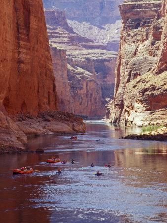 Arizona, Grand Canyon, Kayaks and Rafts on the Colorado River Pass Through the Inner Canyon, USA