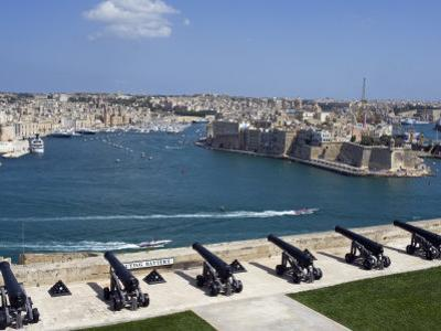 Cannons of Battery High on Defensive Wall of Valletta Protect Entrance to Grand Harbour, Malta by John Warburton-lee