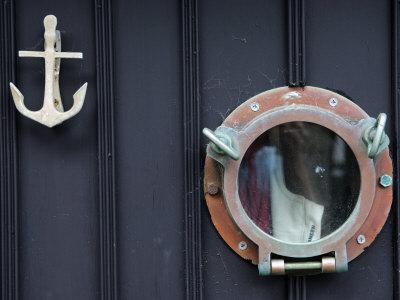 Door of Fisherman's Cottage - Anchor for Door Knocker and Ship's Porthole for a Peephole, Cornwall