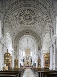 Germany, Bavaria, Munich, Nave of Michaelskirche, Second Largest Barrel-Vaulted Roof in the World t by John Warburton-lee