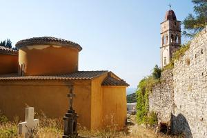 Greece, Paxos. Byzantine Church of Ipapanti Has Two Flattened Cupolas and Impressive Highbell Tower by John Warburton-lee