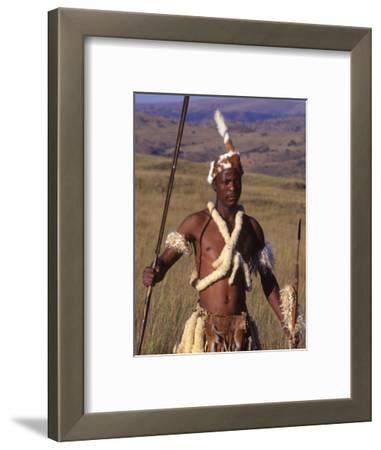 Zulu Warrior in Traditional Dress with Fighting Spear