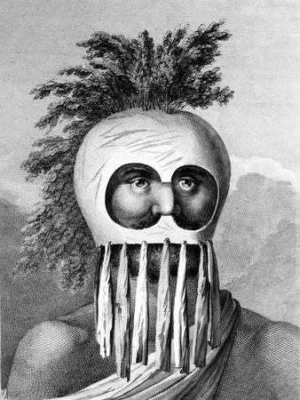 A Man of the Sandwich Islands in a Mask, Illustration from 'A Voyage to the Pacific', Engraved by…