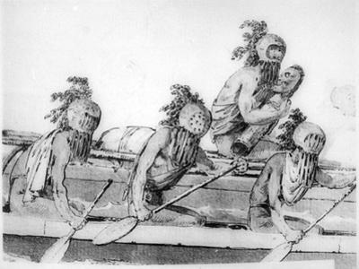 Double Canoe with Oarsmen, Hawaii, 18th Century by John Webber