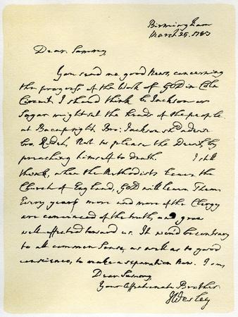 Letter from John Wesley to Samuel Bradburn, 25th March 1783