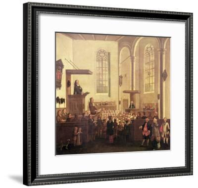 John Wesley Preaching in Old Cripplegate Church--Framed Giclee Print