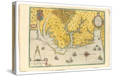 Map of Virginia Showing the Arrival of Sir Walter Raleigh's Expedition in 1585, 1590