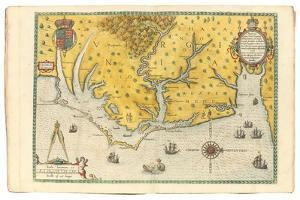 Map of Virginia Showing the Arrival of Sir Walter Raleigh's Expedition in 1585, 1590 by John White