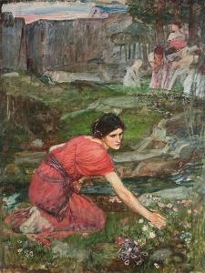 A Study: Maidens Picking Flowers by a Stream, C. 1909-1914 by John William Waterhouse