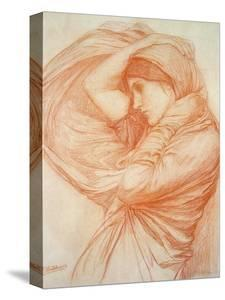 Study for 'Boreas' (Red Chalk on Tinted Paper) by John William Waterhouse