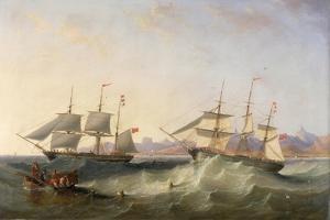 A Clipper and an East Indiaman Leaving Port by John Wilson Carmichael