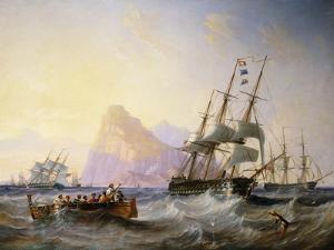 British Men O' War Off Gibraltar, 1855 by John Wilson Carmichael