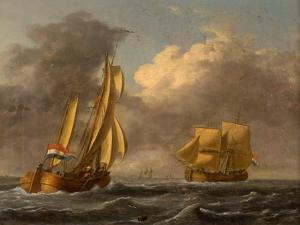 Dutch Galliots Off the Coast by John Wilson Carmichael