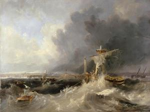 Sunderland Old Pier and Lighthouse with Ryhope Church in Distance, 1840 by John Wilson Carmichael