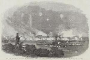 The Bombardment of Sveaborg, Burning of the 60 Gun-Boat Sheds, Sketched from an Opposite Rock by John Wilson Carmichael