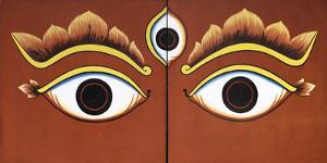Buddha Eyes Painted on a Door in Kathmandu, Nepal, Asia by John Woodworth