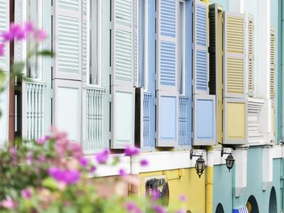 Colourful Wooden Window Shutters in the Boat Quay Area of Singapore, Southeast Asia, Asia