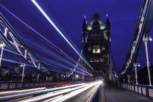 Light Trails on London Bridge in the Evening, London, United Kingdom, Europe by John Woodworth