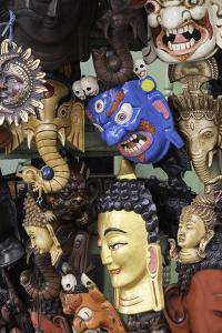 Masks on Sale in a Shop in Kathmandu, Nepal, Asia by John Woodworth